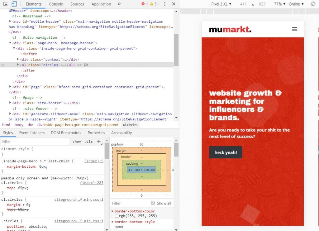 Using Chrome Developer Tools on Mumarkt's Website